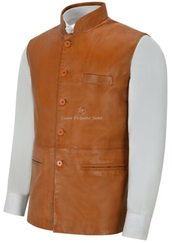 Men/'s Leather Waistcoat Tan Mandarin Collar Indian Ethnic Vest Real Napa 3946
