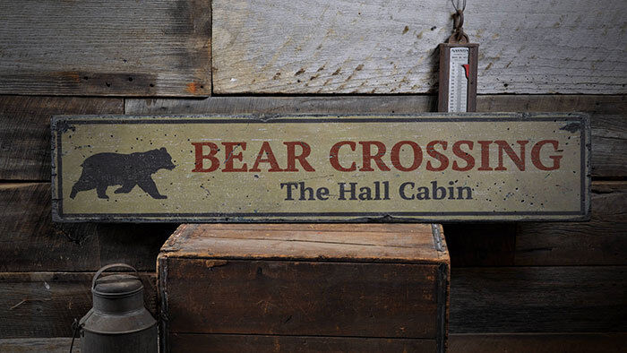 Bear Crossing Sign, Wood Bear Decor -Distressed Wooden Sign ENS1001907