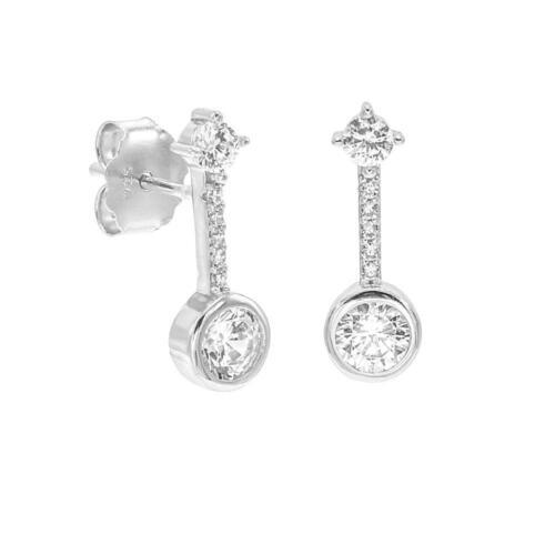 Argent sterling 925 Rond Blanc Diamant Goutte Boucles d/'oreilles Clou