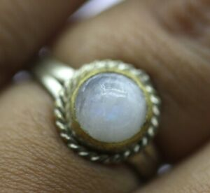 1.940 GRAMS NATURAL MOONSTONE WOMEN HANDMADE JEWELRY STERLING SILVER RING 5.5