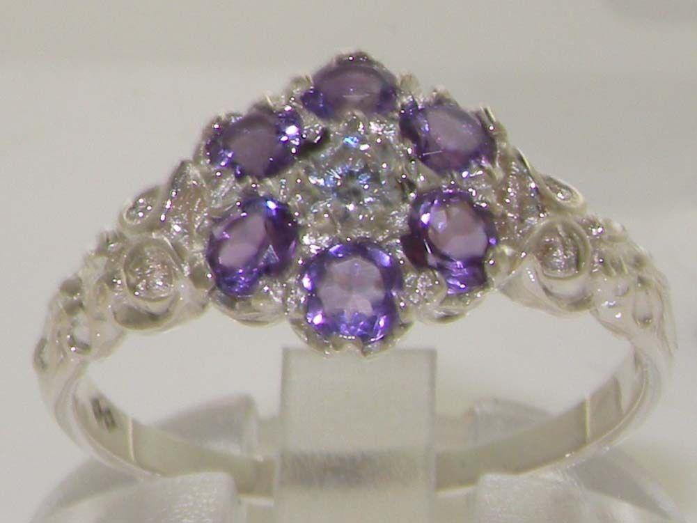 10k White gold Amethyst & CZ Womens Vintage Daisy Ring - Sizes 4 to 12