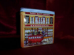 Paris-Saint-Honore-Chedville-HOTEL-HOUSE-SHAPED-NOVELTY-TIN-Food-Advertising