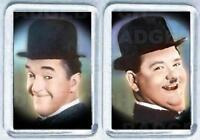 LAUREL and HARDY COLOUR pair of  FRIDGE MAGNETS - CLASSIC COOL!