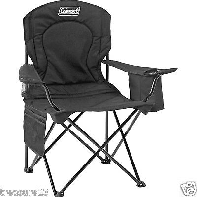 Coleman Camping  Oversized Quad Chair With Cooler Black