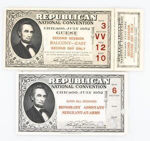Lot-of-2-1952-Republican-National-Convention-Tickets-1-Unripped-AU-Condition
