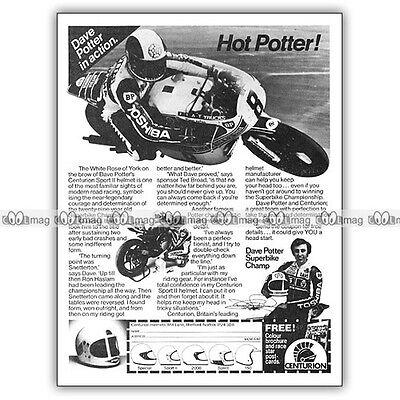 Bereidwillig Pub Dave Potter & Centurion - Original Advert / Publicité Pilote Moto 1980