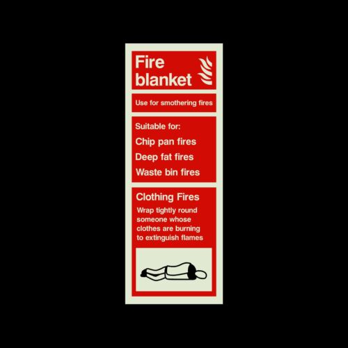 Fire Blanket Sign All Sizes /& Materials 75mm x 200mm Plastic Sign Sticker