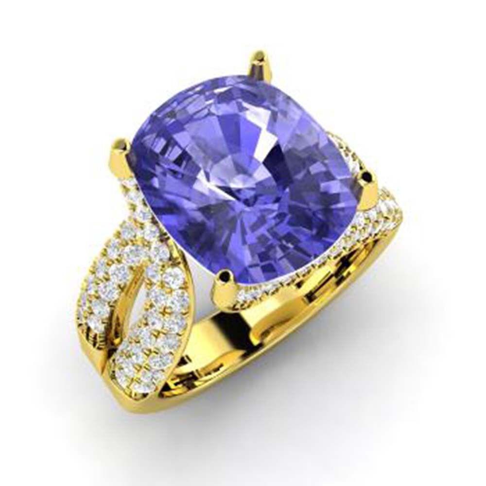 5.00Ct Cushion Cut Diamond Natural Tanzanite Ring 14K Solid Yellow gold 4.5 5 5