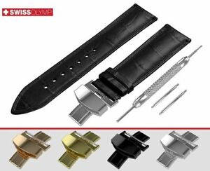 Fits-SEIKO-Black-Watch-Strap-Band-Genuine-Leather-For-Buckle-Clasp-12-24mm-Mens