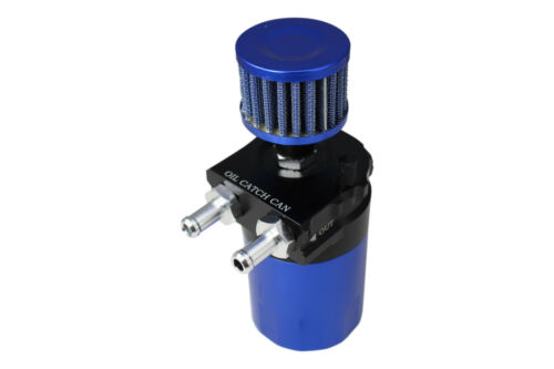 BLUE BLACK R2 ROUND OIL RESERVOIR CATCH TANK CAN BREATHER FILTER 15mm UNIVERSAL