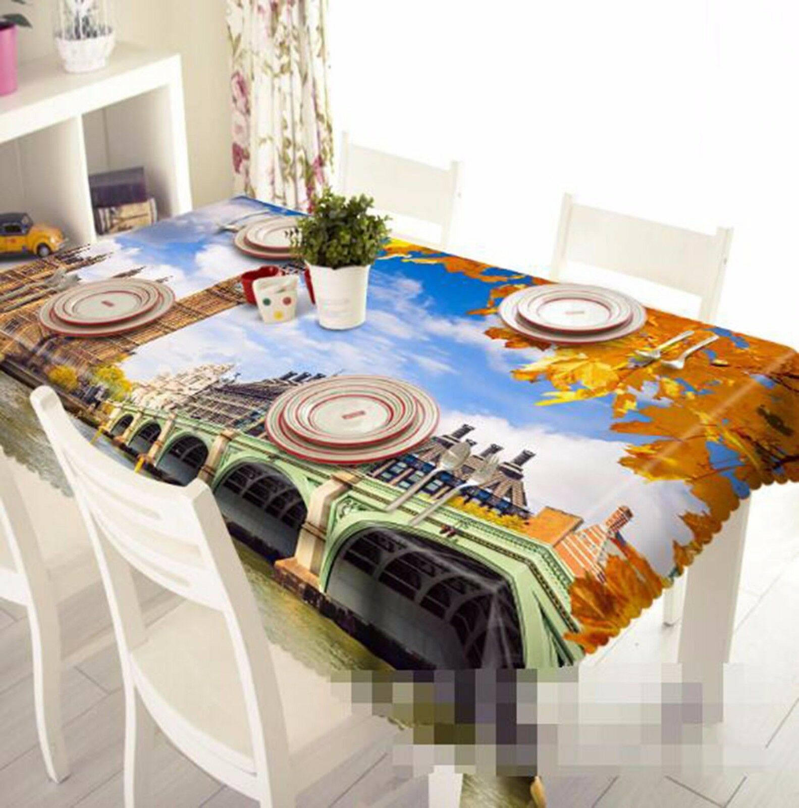 3D Bridge 502 Tablecloth Table Cover Cloth Birthday Party AJ WALLPAPER UK Lemon