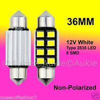 2 x 12V LED 36MM Festoon Interior Car Auto 8 SMD Light Bulb White Dome Globe