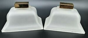 Vintage Slip Shades Light Wall Sconce Frosted Glass Brass Lamp Art Deco Lot of 2