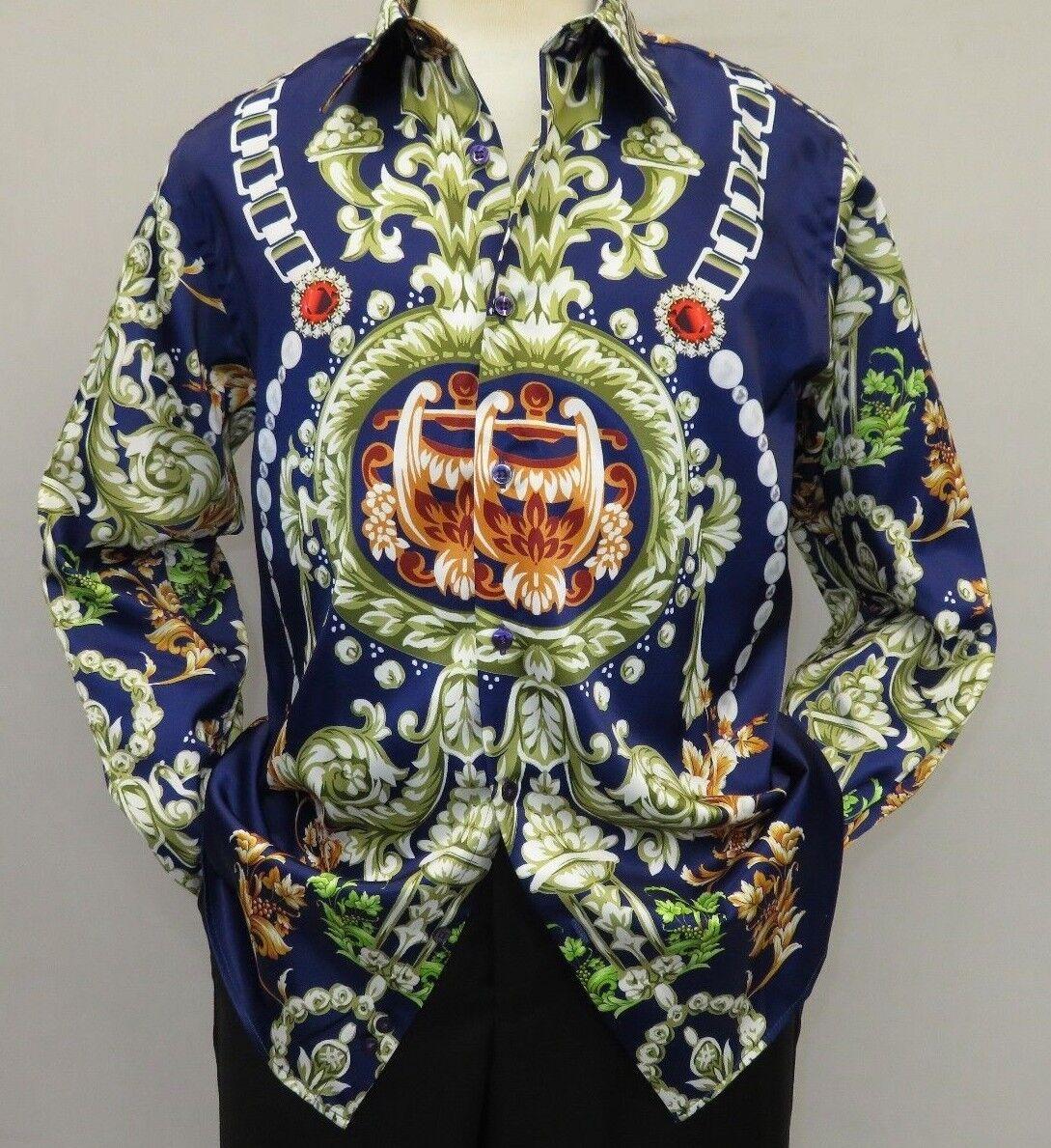 Men Oscar Banks Turkey Shirt Satin Entertainer Performer 6335-04 navy Floral