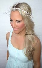 Ivory Pearl Spray Beaded Halo Garland Crown Hair Head Band Choochie Bridal Bride