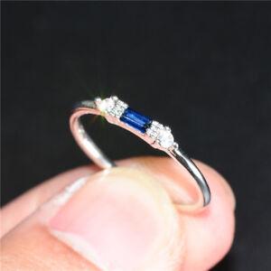 Elegant-Argent-925-Anneaux-De-Mariage-Pour-Femmes-Bijoux-saphir-bleu-Ring-Taille-6-10