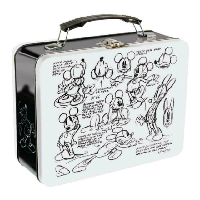 Disney Mickey Mouse Sketch Large Tin Tote Retro Lunch Box Travel Metal Gift