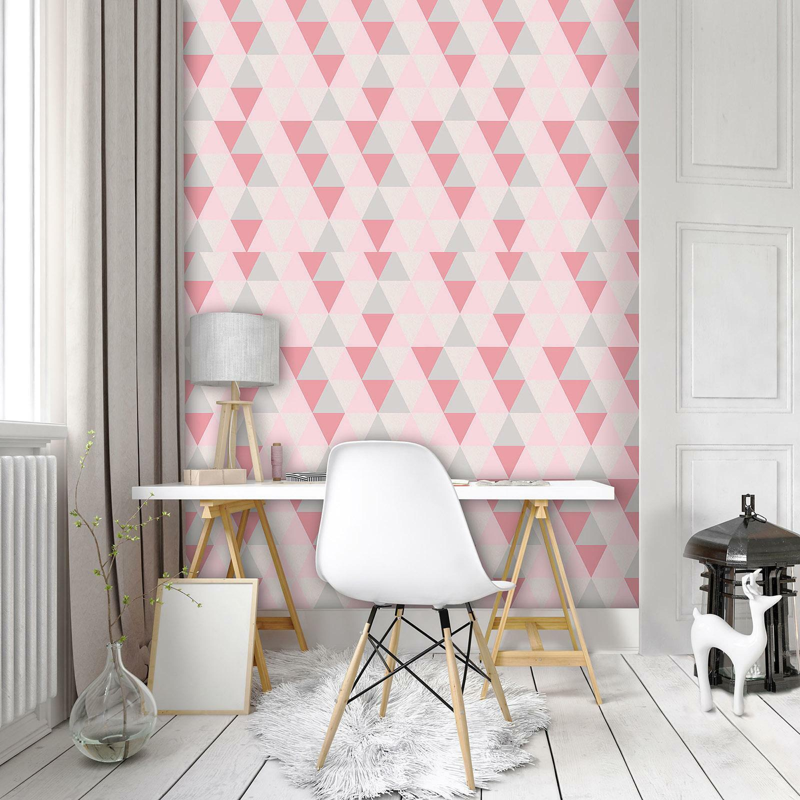 Photo Wallpaper Mural Non-woven 10728_VEA Pink Triangles abstract geometry geome