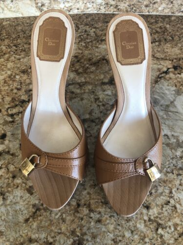Christian Dior Tan Leather Logo Clogs (Size 40)(Pr