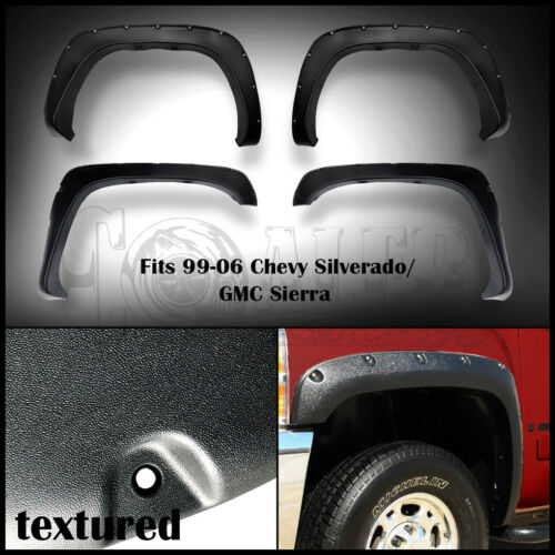 99-2006 Chevy Silverado Bolt-On Rugged Textured Pocket Style Fender Flares 4PC