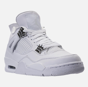 5caf70e1891 RARE Exclusive Nike Mens Air Jordan Retro 4- White Metallic Silver ...
