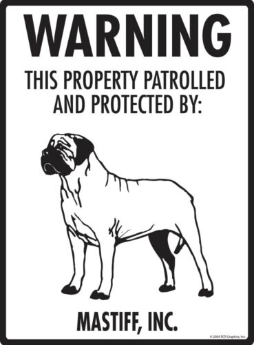 "9/"" x 12/"" Warning Mastiff Property Protected Aluminum Dog Sign"