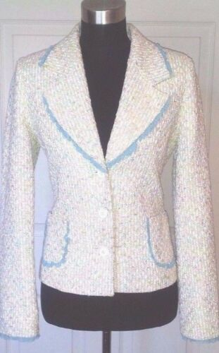 Boucle Demand White Supply amp; Blue Green Jacket Women's Sz Dress Casual S Yellow qnFHa8wxvE