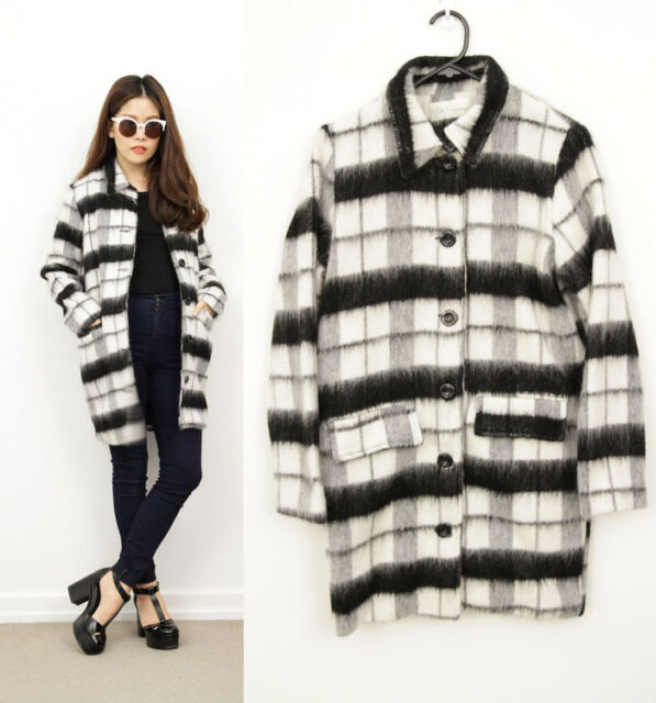 Black White Monochrome MOD Plaids Check Tartan WOOL Collar Coat Jacket 8 10