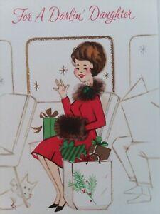 Vtg-GIRL-Fur-Trim-Coat-For-DARLIN-DAUGHTER-on-Bus-Train-CHRISTMAS-GREETING-CARD