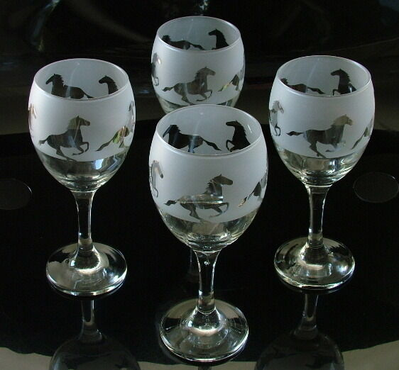 Horse Gift set of four Wine Glasses..Boxed