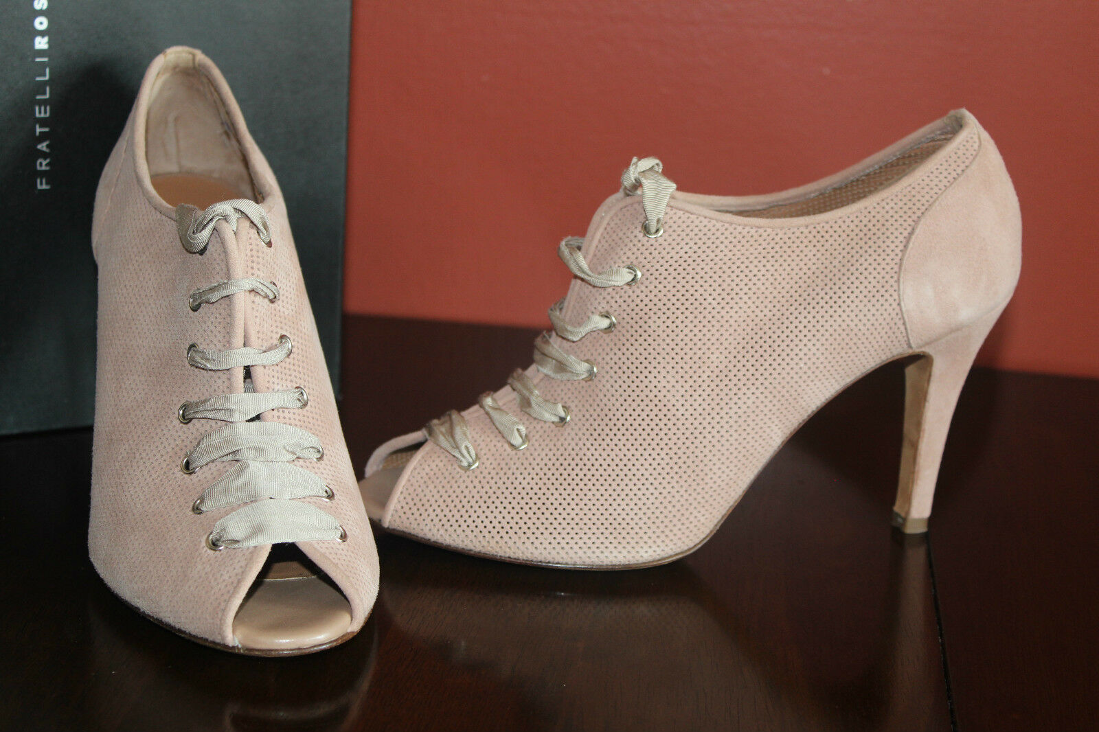 FRATELLI ROSSETTI 63623  TAILORED OXFORDS PALE PINK SUEDE UPPER  8.5us  599