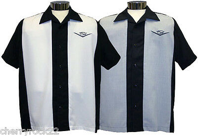 Daddy-O's TWO TONE CLASSIC Rockabilly Rock n Roll Bowling Shirt Size M - 3XL