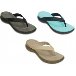 55163b55fb8 Crocs Capri V Leather Strap Womens Flips   Sandals All Sizes in ...
