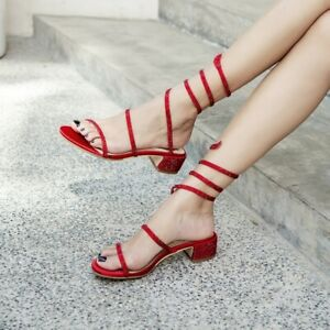 e78380bf54 Sexy Womens Gladiator Block Low Heels Peep Toe Strappy Rhinestone ...