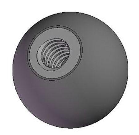 "0.875/""L 1//4-20 Thread Size Ball Knob Soft Touch Steel"