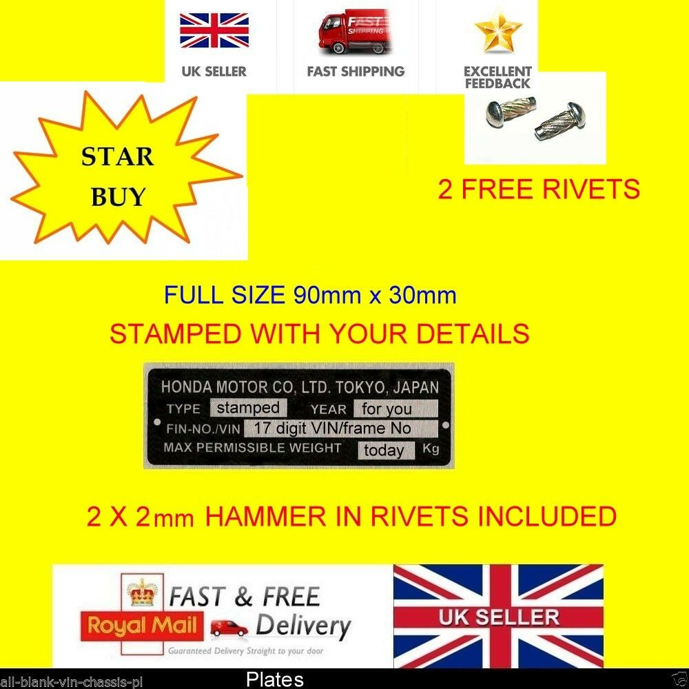 250 ID Motorbike VIN Plate Chassis Number for Honda Rivets Your Own Text H2