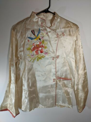 Vintage Silk Bird Flowers Embroidered Chinese Paja