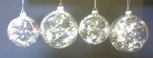 4 il pack verre boules de Noël avec argentée innendeko 7,5 /& 9,5 cm 489