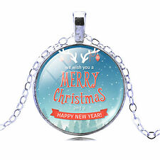 Vintage Style Light Blue Merry Christmas Gift Party Pendant Necklace N445