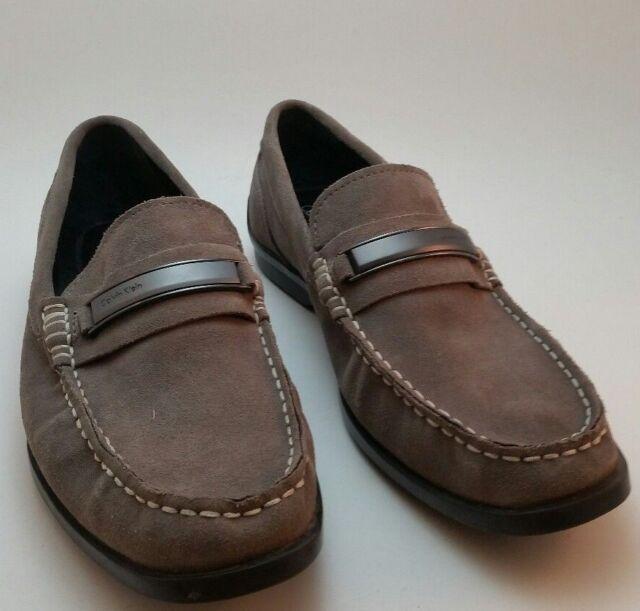 70c64ba8c16 Mens Grey Calvin Klein Keeran Suede Slip On Moc Toe Casual Loafers Shoes Sz  10.5