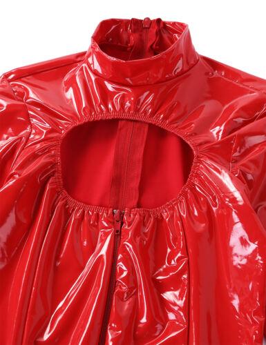 Women Zipper Leather Leotard Bodysuit Long Sleeve Teddy Lingerie Jumpsuit Party