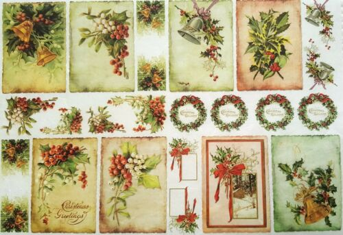 Rice Paper for Decoupage Christmas Labels 1 Scrapbooking Sheet Craft Vintage