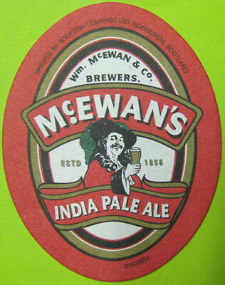 McEWAN/'S INDIA PALE ALE IPA oval Beer COASTER Mat w// MAN SCOTLAND United Kingdom