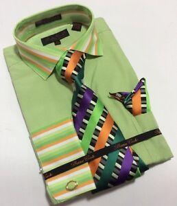 Men-039-s-BRUNO-CONTE-French-Cuff-Dress-Shirt-GREEN-Tie-Hanky-Cufflinks-Set-BC1023