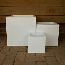 40cm CLEARANCE Black Zinc Cube Planter//Metal Box Tin//Home Garden Plant Pot