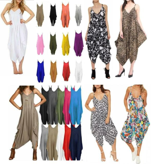 Women/'s Ladies Cami Strappy Ali Baba Harem Romper Baggy Oversize Jumpsuit New