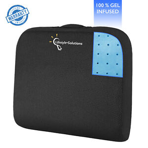 Memory Foam Wheelchair Seat Cushion - 100% Pure Gel Infused Office Chair Pillow