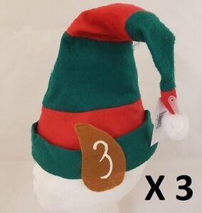 Pack-of-3-Christmas-Fancy-Dress-Mens-Ladies-Unisex-Adult-Elf-Hat-with-Ears-New