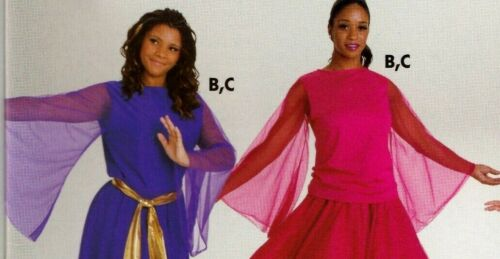 NWOT Praisewear Liturgical Dance Top Chiffon Bell Sleeve 3 Color Choices Ad//Chld