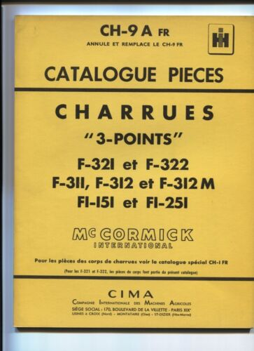 CH-9 A  FR  : Mc Cormick ;catalogue pièces  charrues  3 points   decembre 1958